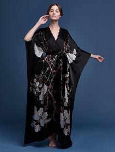 Printed silk satin v neck wrap black red cherry blossom 4e7e98283