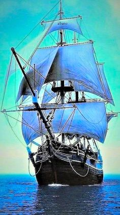 ۞The Gentleman - Marinemalerei - Ship Paintings, Landscape Paintings, Bateau Pirate, Old Sailing Ships, Full Sail, Ship Drawing, Wooden Ship, Yacht Boat, Sail Away