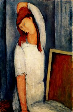 Portrait Of Jeanne Hebuterne With Her Left Arm Behind Her Head 1919 Art Print by Modigliani Amedeo. All prints are professionally printed, packaged, and shipped within 3 - 4 business days. Amedeo Modigliani, Modigliani Portraits, Modigliani Paintings, Italian Painters, Italian Artist, Oil Painting Reproductions, Claude Monet, Pablo Picasso, Famous Artists