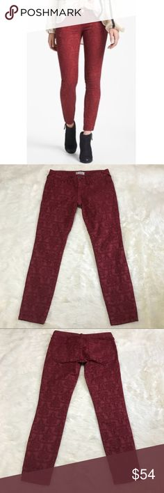 """Free People Jacquard Lace Maroon Skinny Jeans These lace embodied jeans are eye-catching and stylish. These Free People jeans are a size 26. They are 98% cotton and 2% spandex. Excellent used condition. Measurements (from a flat lay): Inseam: 26 1/2"""" Rise: 8"""" Free People Jeans Skinny"""