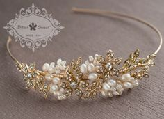 Bitter Sweet Jewellery Bridal Collection, gold plated hairband. #gold #14k #pearl #vintage #luxury #elegant #bridal #leaf #floral #delicate #wedding #gown #CZ #sparkle #clear #crystal #hair
