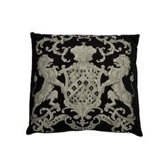 This black and silver square cushion 55 x 55 cm is very comfortable. It is embroidered front / back of rampant lions, recalling coats of arms. Bring a chic touch to your interior with this original cushion of high quality. Black Cushions, Coat Of Arms, Lions, Touch, Throw Pillows, Silver, Wellness, Interiors, Design