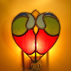 Stained Glass Heart Night Lamp by colorandlight on Etsy, $45.00