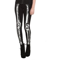 Hot Topic Teenage Runaway Glow-In-The-Dark Skeleton Leggings ($29) ❤ liked on Polyvore featuring pants, leggings, bottoms, cotton trousers, cotton pants, glow in the dark skeleton leggings, skeleton leggings and legging pants