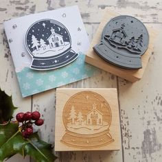 **NEW FOR 2016** Christmas Snowglobe Rubber Stamp