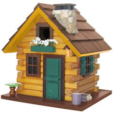 Country Comfort Rustic Log Cabin Hanging Bird House