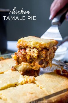 Tamale Pie with Chicken: A hearty Tex-Mex casserole of flavorful chicken, beans, corn, and tomatoes topped with an incredile cornbread that bakes right on top of the casserole. Perfect for cozy weekend dinners and can be doubled for large crowds, like for a potluck or football party. #tamalepie #tamale #cornbread #casserole #potluck Tamale Casserole, Casserole Dishes, Casserole Recipes, Cornbread Casserole, Chicken Tamale Pie, Chicken Tamales, Mexican Dishes, Mexican Food Recipes, Ethnic Recipes