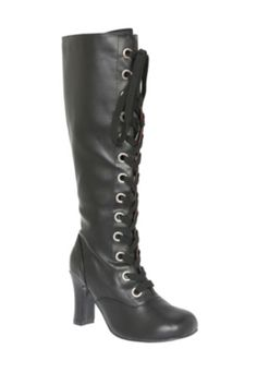 T.U.K. Black Baby Doll Heel Boot - No zipper to cheat! It's all laces. :}