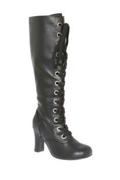T.U.K. Black Baby Doll Heel Boot - No zipper to cheat! It's all laces. :}