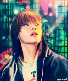 BTS V Fanart. Wow. This is a damn good likeness. I haven't pinned any Kpop fan art, but this one was too sick not to. These colors. Amazing.