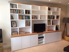 Ben Bater Carpentry & Joinery: Bespoke & Fitted Furniture &… Living Room Bookcase, Home Living Room, Home Office Design, Home Office Decor, Home Decor, Carpentry And Joinery, Modern Tv Units, Tv Wall Design, Built In Bookcase