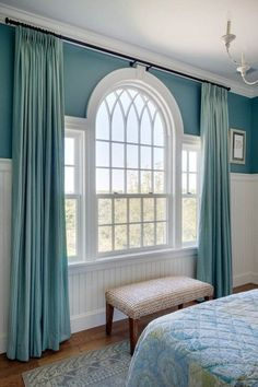 Designing Curtains for Challenging Windows Beautiful traditional Palladian window in a Martha's Vineyard home by Patrick Ahearn, architect Curtains For Arched Windows, Bedroom Windows, Living Room Windows, Windows And Doors, Arch Windows, Picture Window Curtains, Bay Windows, House Windows, Window Seats