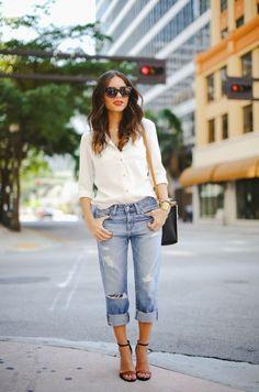Boyfriend jeans and shirt.