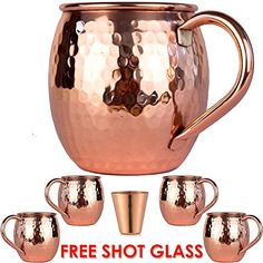Moscow-Mix Solid Copper Handle Moscow Mule Mugs (Set of with Shot Glass, 16 oz Moscow Mule Drink, Copper Moscow Mule Mugs, Solid Copper Mugs, Copper Wall, Copper Handles, Shot Glass Set, Mugs For Sale, Mugs Set, Safe Food