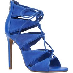 Nine West Styleish Lace-Up Pumps featuring polyvore, women's fashion, shoes, pumps, royal blue fabric, lace up pumps, high heeled footwear, lace up shoes, laced shoes and lace up high heel shoes