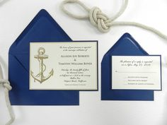 Nautical Wedding Invitation 4 PC Suite by WhiteGownInvitations