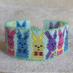 Bunnies on Parade Bracelet  Peyote Cuff Bracelet  by CharmedGifts, $46.00