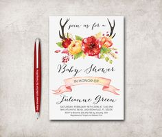 Baby Shower Invitation Printable, Digital file - pinned by pin4etsy.com