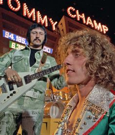 Entwhistle and Daltrey on the set of the Tommy movie