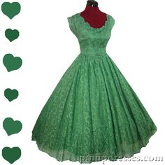 """""""Vintage 1950s Green Lace Full Skirt Party Dress"""""""