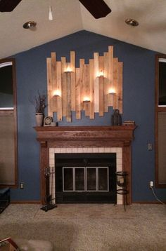 DIY fireplace pallet decoration with candle holders. #DIY #Pallet #Upcycled