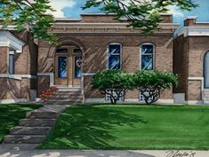 Completed on Sept this watercolor portrait depicts a brick home built in 1909 in St. Louis, Missouri and will be a gift to the parents who recently moved. Old Bricks, Take Me Home, Watercolor Portraits, Custom Homes, Building A House, Cottage, Exterior, House Design, Mansions