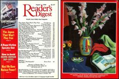 """Reader's Digest front and back cover, August 1990  Art Director:Richard J. Berenson Artwork on back: """"Pink Gladioli"""" byWarren Brandt  Warren Brandt was born in Greensboro, North Carolina on in 1918. He studied at Pratt Institute from 1935 to 1938, Washington University, with Philip Guston and Max Beckmann and the Art Students League with Yasuo Kuniyoshi.Brandt was the head of the Art Department of Salem College from 1949 to 1950 and later on he taught at Pratt Institute."""