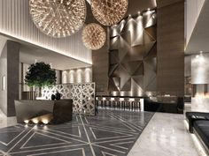 Whether you have a grand and comfortable lobby or a minimalistic and intimate one, all the elements of your hotel lobby design must be in total harmony. Resort Interior, Luxury Interior, Modern Interior, Modern Furniture, Luxury Decor, Modern Luxury, Luxury Furniture, Furniture Design, Design Entrée