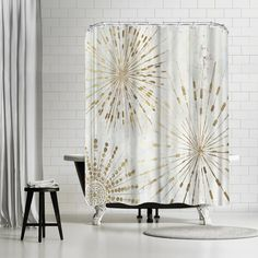 Amazing Deal PI Creative Art Golden Star Shower Curtain By East Urban Home Gold Shower Curtain, Striped Shower Curtains, Fabric Shower Curtains, Waterford Bedding, Shower Sizes, Bathroom Gallery, Golden Star, Creative Art, Artists