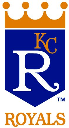 Kansas City Royals Primary Logo (1969) - Blue banner with a gold crown above it, a large R in white and a small KC in gold on the banner. Below is ROYALS in gold