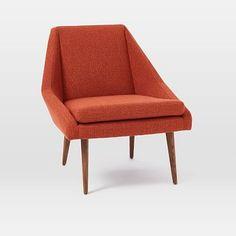 Parker Slipper Chair, Chunky Basketweave, Burnt Orange