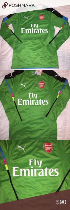 NEW: PUMA Arsenal FC Fly Emirate Goalkeeper Jersey Men's PUMA Arsenal FC Fly Emirates Long Sleeve Goalkeeper Jersey  For more great deals on sneakers and such Check out my other items!  CONDITION: BRAND NEW WITH TAGS OVERALL CONDITION: 10/ 10  