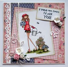 Girly card using Stamping Bella Uptown Girl Pippa loves to plant