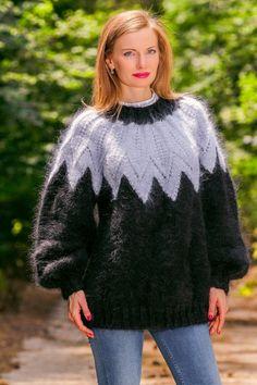 Black hand knitted mohair sweater fuzzy Icelandic Nordic jumper SUPERTANYA #SuperTanya #Crewneck