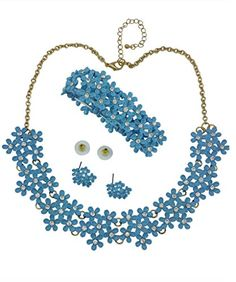 Statement Necklace Set with Tiny Petite Flowers in Four Colors, Blue, Pink, Mint, Purple >>> For more information, visit image link.