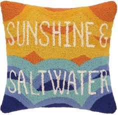 Sunshine & Salt Water Hook Pillow: Beach House Decor, Coastal Decor, Nautical Decor, Coastal Living Boutique, Tropical Decor