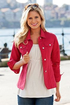 Capture Coloured Denim Jacket - EziBuy New Zealand. Like the tailoring, gives some shape with a looser top underneath Coloured Denim Jacket, Demin Jacket, Leather Jacket, Jackets For Women, Clothes For Women, Loose Tops, Jackets Online, Winter Fashion, Winter Style
