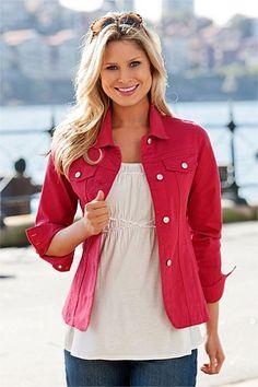 Capture Coloured Denim Jacket - EziBuy New Zealand. Like the tailoring, gives some shape with a looser top underneath Coloured Denim Jacket, Demin Jacket, Jacket Style, Leather Jacket, Clothes Online Australia, Jackets For Women, Clothes For Women, Jackets Online, Winter Fashion