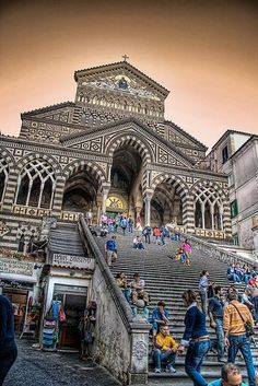 Amalfi Cathedral, Italy. 9th-century Roman Catholic church in the Piazza del Duomo, Amalfi, Italy. Predominantly of Arab-Norman Romanesque architectural style, it has been remodeled several times, adding Romanesque, Byzantine, Gothic, and Baroque elements. Campania