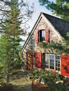 Canadian stone cottage....love the shutters