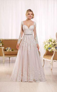 D2145 A-line wedding dress with organza skirt by Essense of Australia