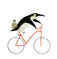 Bicycles and penguins go hand and hand in this illustration by Ines Sanchez Nadal.