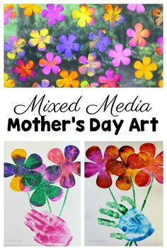 Let the kids use their hand prints to create some beautiful multi-media Mother's Day art! Mothers and grandmothers will treasure the keepsakes for years! Mothers Day Crafts For Kids, Mothers Day Cards, Gifts For Kids, Children Crafts, Mom Gifts, Mother's Day Activities, Spring Activities, Montessori Activities, Creative Activities