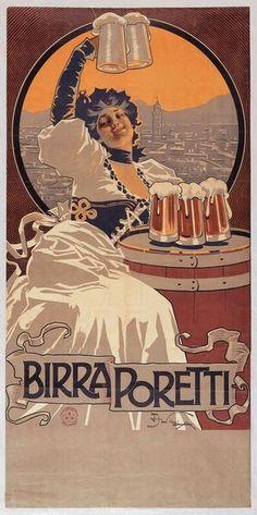 Vintage Italian Posters ~ #Italian #vintage #posters ~ Aleardo Villa Birra Poretti, 1900