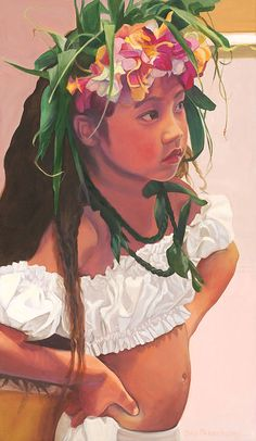 Keiki with Orchids and Ti - An acrylic painting of a young Hawaiian girl portrait.