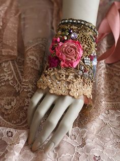RESERVEDBrocart romantic shabby chic wrist cuff от FleursBoheme