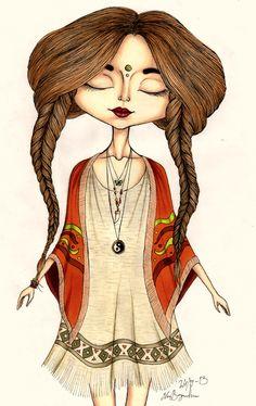 Bohemian girl by ebbabir on deviantART on We Heart It Bohemian Girls, Bohemian Art, Boho Girl, Bohemian Style, Boho Gypsy, Bohemian Fashion, Hippie Style, Art Hippie, Hippie Love