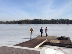 Sunny spring day in Pellinki, and the sea is still frozen. www.visitporvoo.fi