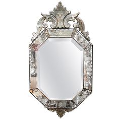 Very Fine Antique Venetian Etched-Glass Mirror in Medium Size | From a unique collection of antique and modern wall mirrors at https://www.1stdibs.com/furniture/mirrors/wall-mirrors/
