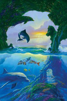 Seven Dolphins - Canvas Print